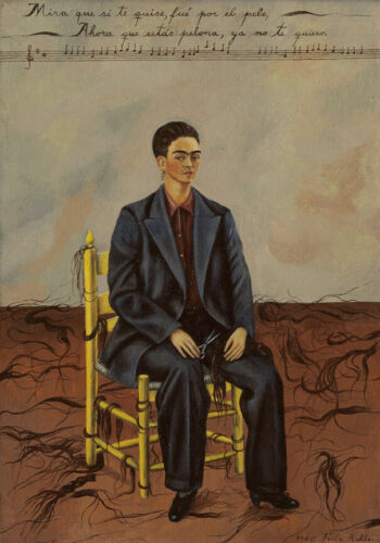 Self-Portrait with Cropped Hair by Frida Kahlo   Paper Print Repro