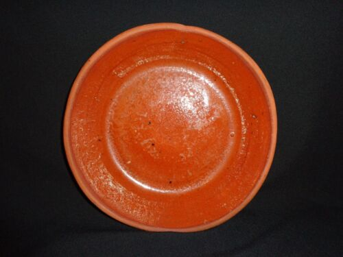 "19th. c Antique Pennsylvania Redware Dish/Bowl, Primitive, 8-5/8"" in diameter"