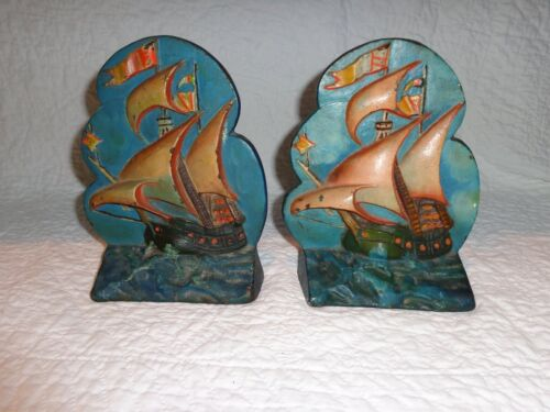 Vintage Pair of Sailing Ship Form Cast Iron Bookends, 1940's