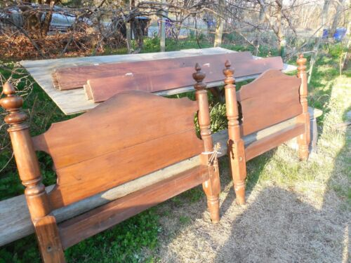 OLD WALNUT BED 1890 ?  OLD WOOD SINGLE BED HAND MADE