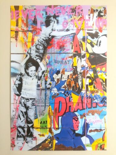 "MR. BRAINWASH RARE "" NEVER GIVE UP "" AUTHENTIC LITHOGRAPH PRINT POP ART POSTER"