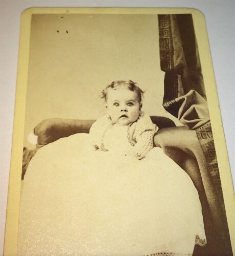 Antique Adorable Victorian American Child, Wide Cutie! Fort Edward, NY CDV Photo