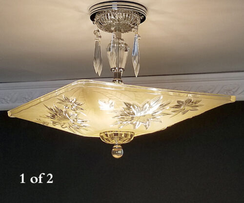 373b Vintage Quality Azalea Glass Ceiling Light Lamp Fixture Chandelier