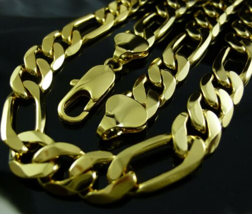 "24"" 24ct 24k Yellow Gold GF Figaro Chain Mens Solid Necklace"