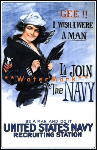 Navy Recruiting I'd Join The Navy 1917 WW1 Vintage Poster Print Retro Style Art