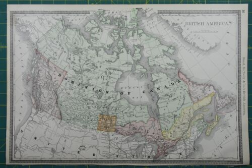 Dominion of Canada Rand McNally Antique Vintage 1892 World Business Atlas Map