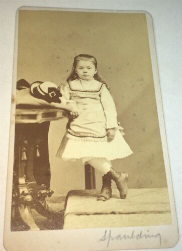 Antique Victorian American Fashion Dress Adorable Little Girl! Hat CDV Photo! US