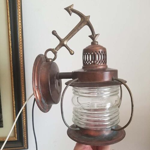 637b 50s 60's Vintage Antique Maritime Nautical Wall Sconce Anchor Light Pourch