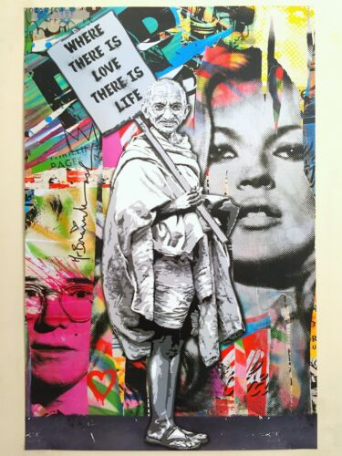 "MR. BRAINWASH "" GANDHI WHERE THERE IS LOVE "" AUTHENTIC LITHOGRAPH PRINT POSTER"