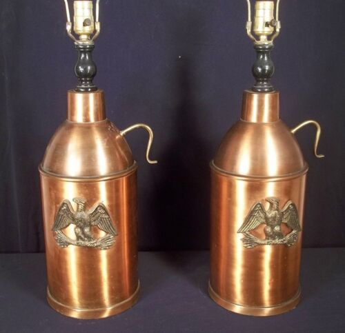 VINTAGE MID CENTURY PAIR OF COPPER CANISTER LAMPS WITH BRASS EAGLES