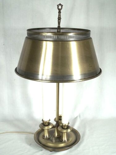 MID CENTURY CLASSICAL FRENCH BOUILLOTTE 3 LIGHT BRASS LAMP