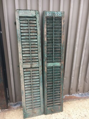 """PaiR c1890 louvered green window house shutters central CT 60"""" x 12.25"""" x 1.25"""""""