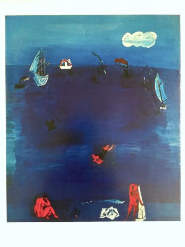 "RAOL DUFY VINTAGE 1970 AUTHENTIC LITHOGRAPH PRINT "" THE MEDITERRANEAN "" 1923"