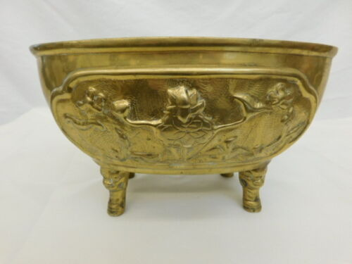 ANTIQUE CHINESE BRASS FOOTED POT EMBOSSED SIGNATURE FLORAL BIRD BUTTERFLY