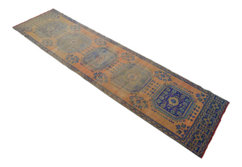 """Hand Knotted Wool MUTED Color Oushak Runner Rug Distressed Rug 2'11"""" x 11'4"""""""