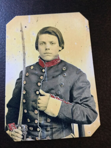 Young soldier in Confederate uniform with saber tintype C929RP