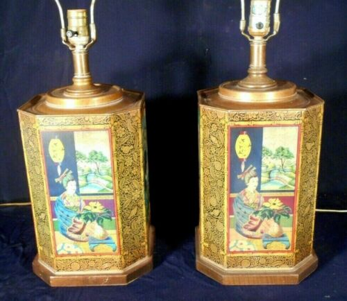 VINTAGE PAIR OF MID CENTURY TIN GINGER JAR LAMPS WITH ORIENTAL FIGURES