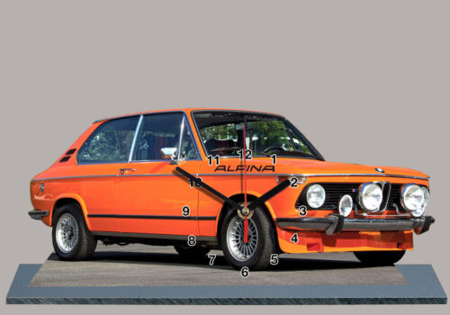 VOITURE , BMW 2002 tii ALPINA Orange-03  en HORLOGE MINIATURE