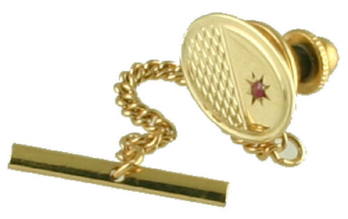 Gold Tie Tack 9Ct Oval Engine Turned With Inset Ruby