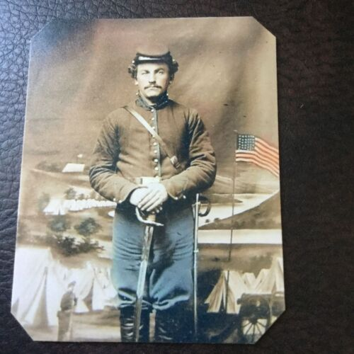 Civil War Military UNIDENTIFIED UNION SOLDIER WITH SWORD & Flag tintype C736RPTintypes - 13712