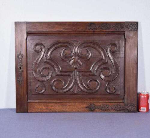 *Large Gothic Carved Architectural Door Panel in Solid Oak Wood with Iron