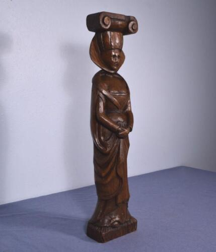 """*25"""" Antique Hand Carved Sculpture Carved in Chestnut Wood of a Woman"""