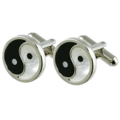 Yin Yang Onyx & Mother Of Pearl Cufflinks Good Evil