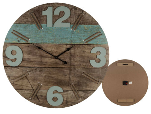 CONTEMPORARY VINTAGE STYLED WOODEN ROUND WALL CLOCK