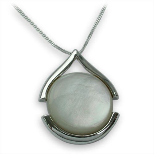 Sterling Silver White Mother Of Pearl Pendant