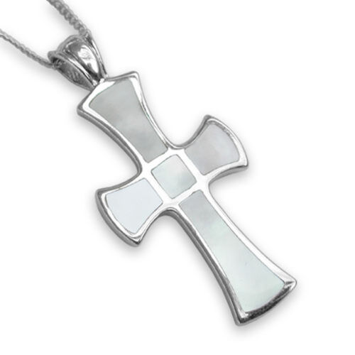 Sterlng Silver Mother Of Pearl Cross - 3.5Cm