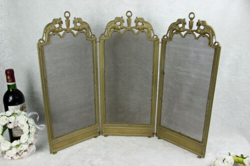 Antique French Brass metal Dragon gothic fireplace screen foldable