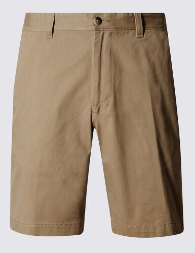 New M&S COLLECTION Pure Cotton Tailored Fit Chino Men's Shorts In Tobacco
