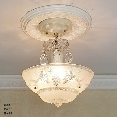 148b Vintage antique Ceiling Glass Light Chandelier Lamp Fixture Hall Bath