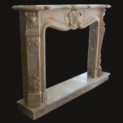 Camino Travertino Cornice Stile Barocco Classico Old Marble Frame for Fireplace
