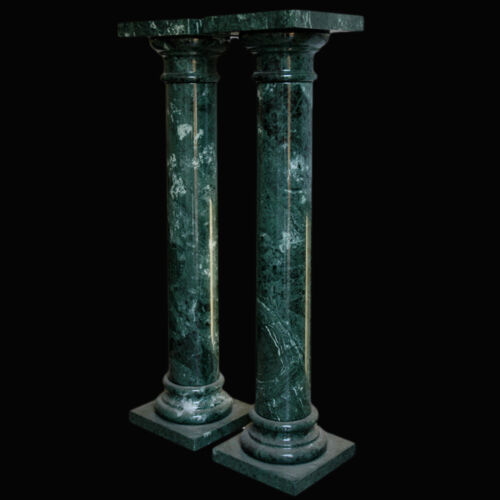 Coppia di Colonne in Marmo Verde Alpi Green Marble Columns Made in Italy H.100cm