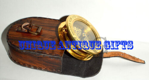 """Brass Collectible Antique Compass """"HENRY HUGHES SON LTD LONDON 1941""""w Magnifying"""