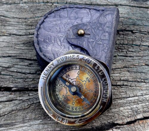 Authentic kelvin Hughes Compass Brass Antique Ship Navigational Device With case