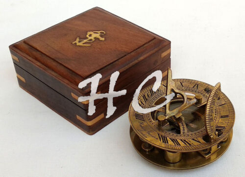 Maritime Antique Solid Brass Collectable Pocket Sundial Compass With Wood Case