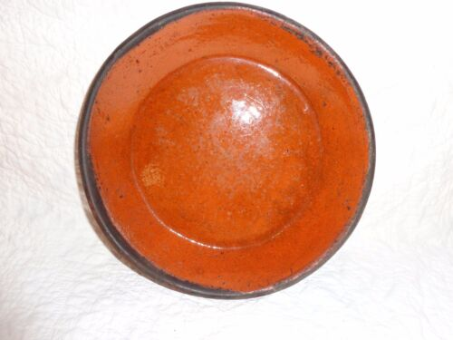 "19th. c Antique Pennsylvania Redware Pie Plate, Primitive, 8-3/4"" in diameter"