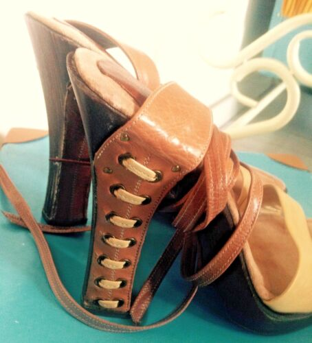 Leather wedge Strappy sandals USA Design size 33 (size 1 Uk) <br/> ABROAD SO UNABLE TO POST TILL I RETURN TO THE UK!!!!