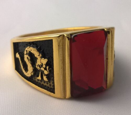 G-Filled 18ct yellow gold simulated garnet Men's Dragon ring Gent's USA 11 AUS W