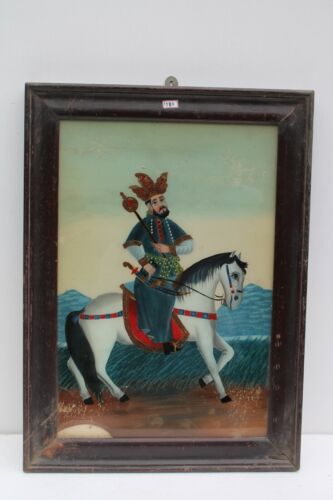 Vintage Old Hand Painted Indian Mughal Persian King Fine Glass Painting NH1580