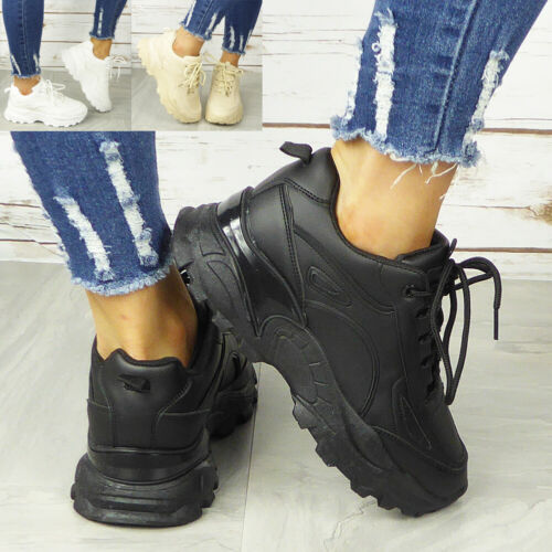Womens Chunky Trainers Ladies Lace Up Goth Punk High Top New Sneakers Shoes Size