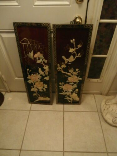 /VINTAGE CHINESE MOTHER OF PEARL TWO WALL HAHNGIN PANEL GORGEOUS GARDEN SCENERY