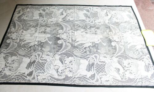 Old Cotton Rare European Design Lace Net Pichwai Made In Germany NH5208