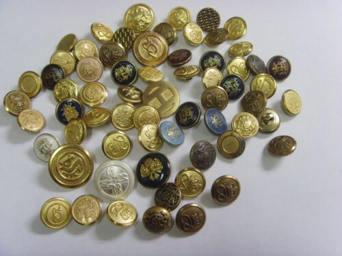 60+ vintage assorted metal heraldic uniform picture coat arms buttons lot fv1609