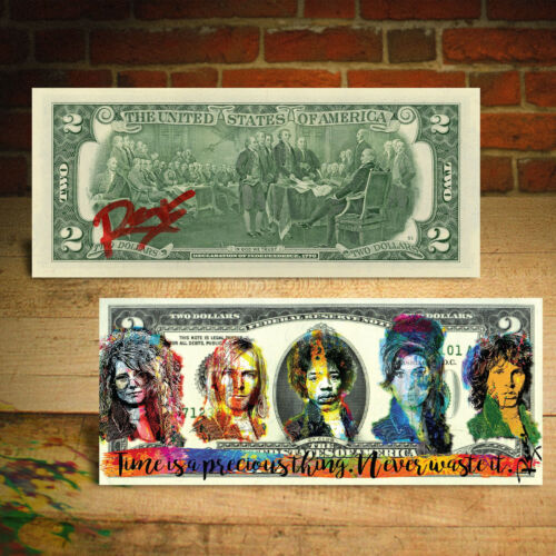 27 CLUB Hendrix Joplin Morrison Cobain Winehouse $2 US Bill by RENCY Hand-Signed