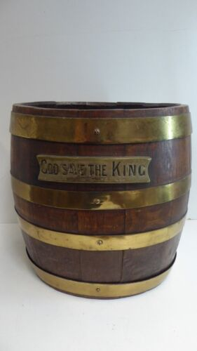 ANTIQUE ENGLISH OAK COOPERS BARREL BRASS BOUND - GOD SAVE THE KING - PLAQUE