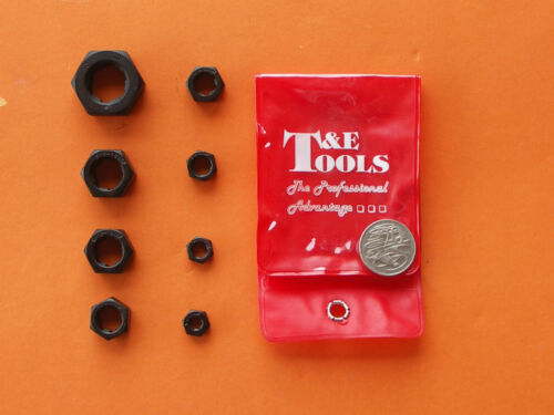 """DIE NUTS 8Pc SET UNF 1/4"""" 5/16"""" 3/8"""" 7/16"""" 1/2"""" 9/16"""" 5/8"""" 3/4"""" T&E TOOLS"""
