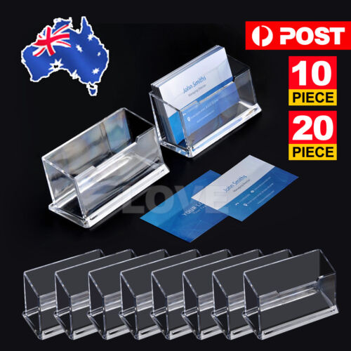 10 X Clear Desktop Business Card Holder Display Stand Plastic Desk Shelf LOT PP